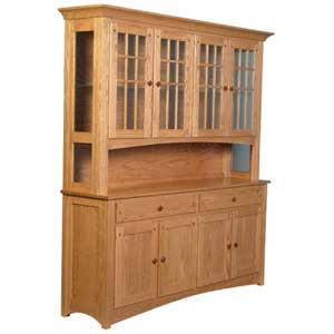 Simply Amish Royal Mission Open Hutch with 4 Mullion Doors