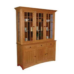 Simply Amish Royal Mission Closed Hutch with 3 Mullion Doors