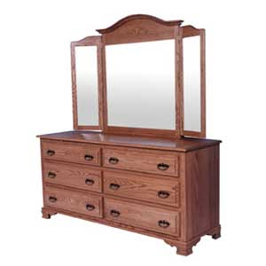 Simply Amish Classic 6 Drawer Dresser and Mirror