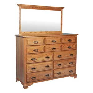 Simply Amish Classic 12 Drawer Bureau and Crown Top Mirror