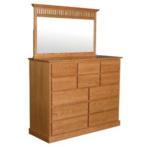Simply Amish Mission Amish 12-Drawer Bureau and Mirror