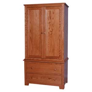 Simply Amish Shaker Amish Armoire on Chest