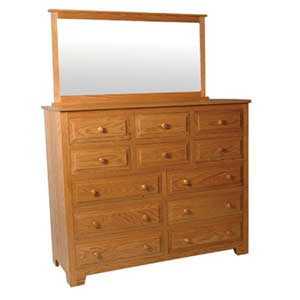 Simply Amish Shaker Amish 12-Drawer Bureau and Mirror