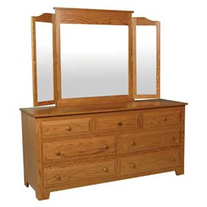 Simply Amish Homestead Amish 7-Drawer Dresser and Tri-View Mirror