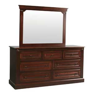 Simply Amish Imperial Amish 7-Drawer Dresser and Center Mirror