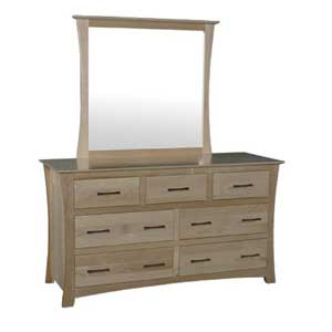 Simply Amish Loft 7-Drawer Dresser and Dresser Mirror