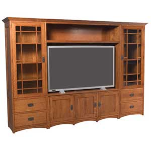 Simply Amish Prairie Mission Wall Unit Entertainment Center