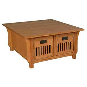 Simply Amish Prairie Mission 4-Door Square Coffee Table