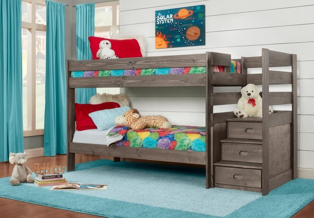2087 DRIFTWOOD BUNK BED TWIN OVER TWIN STEP BUNK BED by Simply Bunk Beds at Furniture Fair - North Carolina
