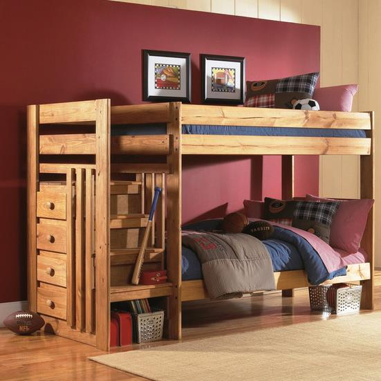 Simply Bunk Beds 7989 Twin Over Twin Bunk Bed With Stairs And
