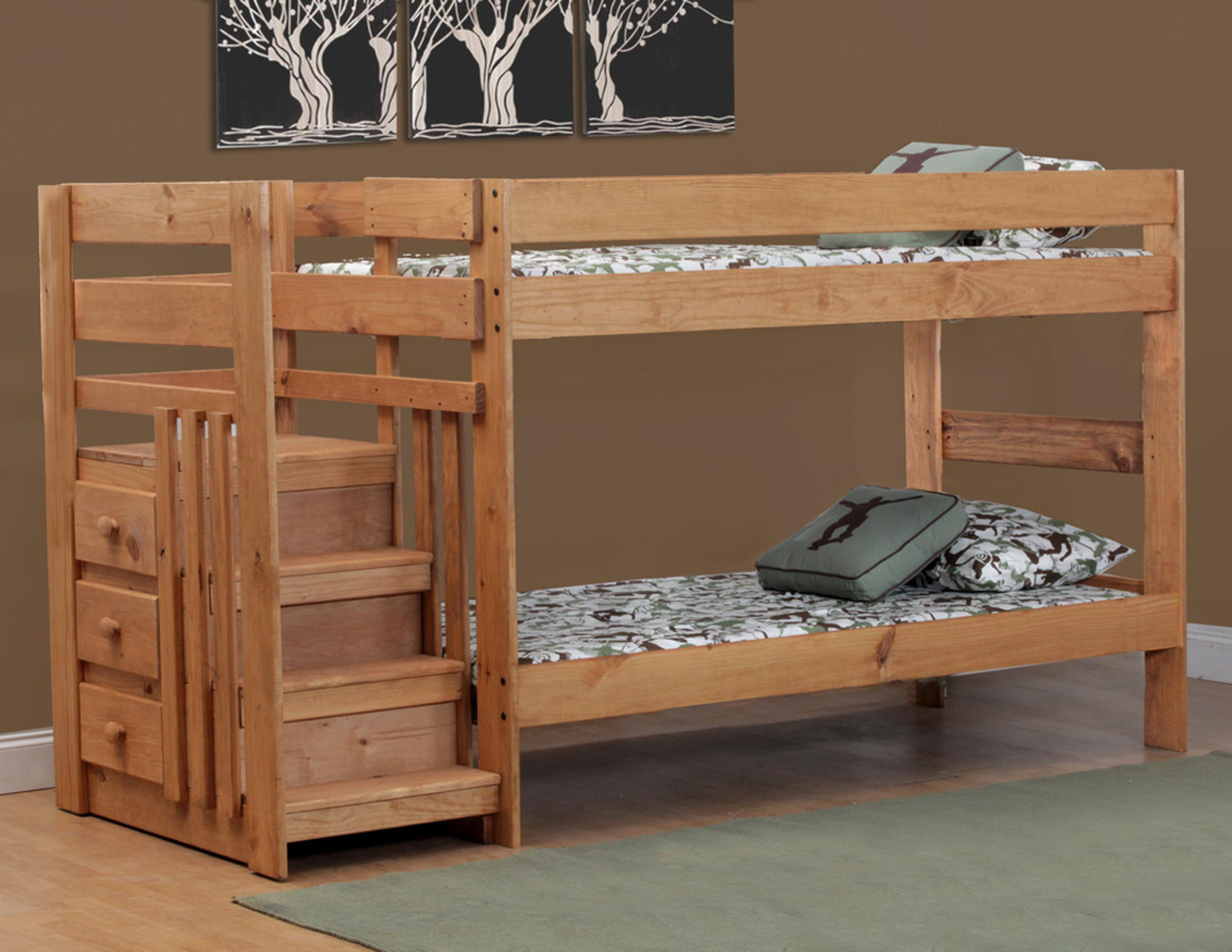 Simply Bunk Beds Pine Twin Twin Staircase Bunk Bed Wayside