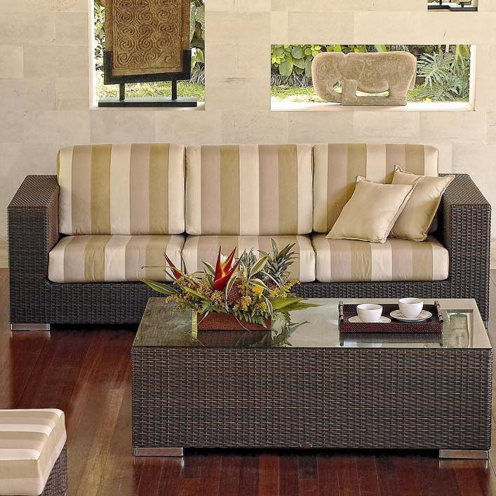 Skyline Design Brando 2003 Outdoor Woven Synthetic Wicker With An Aluminum Frame Sofa Featuring