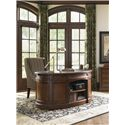 Sligh Breckenridge Telluride Kidney Desk with Leather Top and Shelving on the Front - Back View of Desk