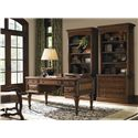 Sligh Breckenridge Castle Pines Desk with Leather Top - 147BR-412 - Shown with Keystone File Cabinet with Deck