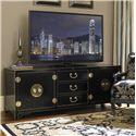 Sligh Studio Design Black Pacifica TV Console Media Unit with Polished Brass Hardware - 100SB-660