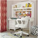 Morris Home Furnishings Anaheim 3-Drawer Desk and Hutch with 2 Shelves and Built-in Bulletin Board and Keyboard Tray