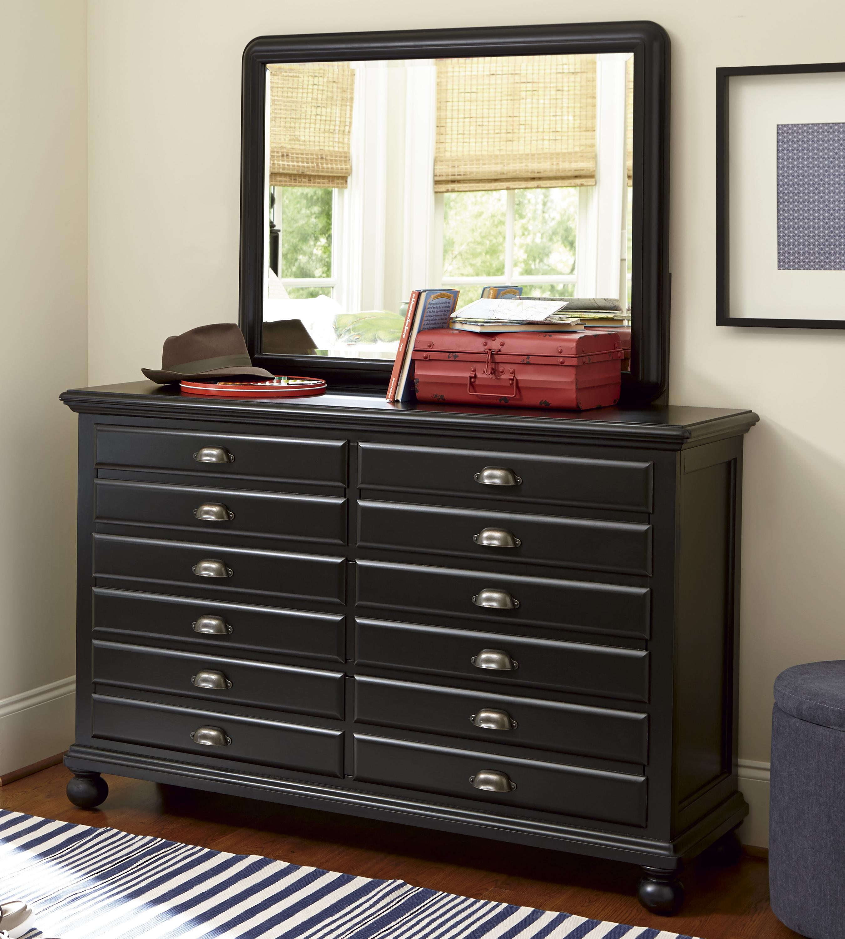 Smartstuff Black and White Dresser and Mirror Comho - Item Number: 437B032+003
