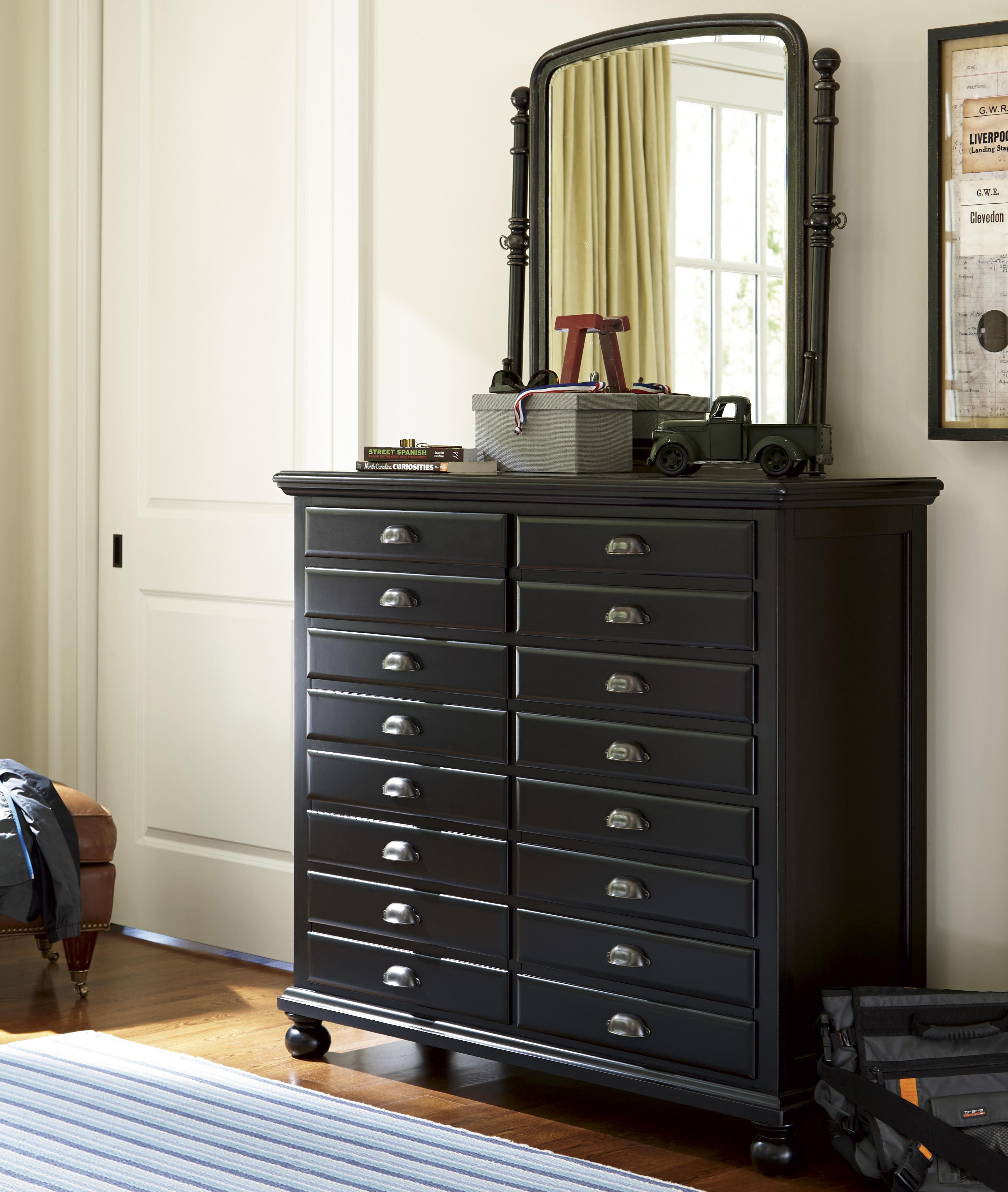 Smartstuff Black and White Dresser and Mirror Combo - Item Number: 437B033+005