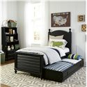 Smartstuff Black and White Twin Reading Bed with Arched Headboard and Low Footboard with Trundle Unit - Shown with Trundle Unit Pulled Out