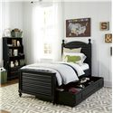 Smartstuff Black and White Twin Reading Bed with Arched Headboard and Low Footboard with Trundle Unit - Shown with Trundle Unit Pulled Out with Storage Dividers