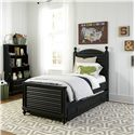 Smartstuff Black and White Twin Reading Bed with Arched Headboard and Low Footboard