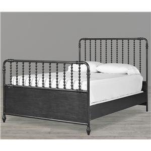 Smartstuff Black and White Full American Classic Metal Bed with Spindle Posts