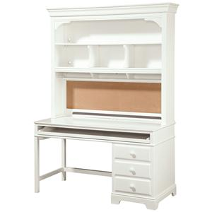 Smartstuff Classics 4.0 3-Drawer Single Pedestal Desk & Hutch with Corkboard Back