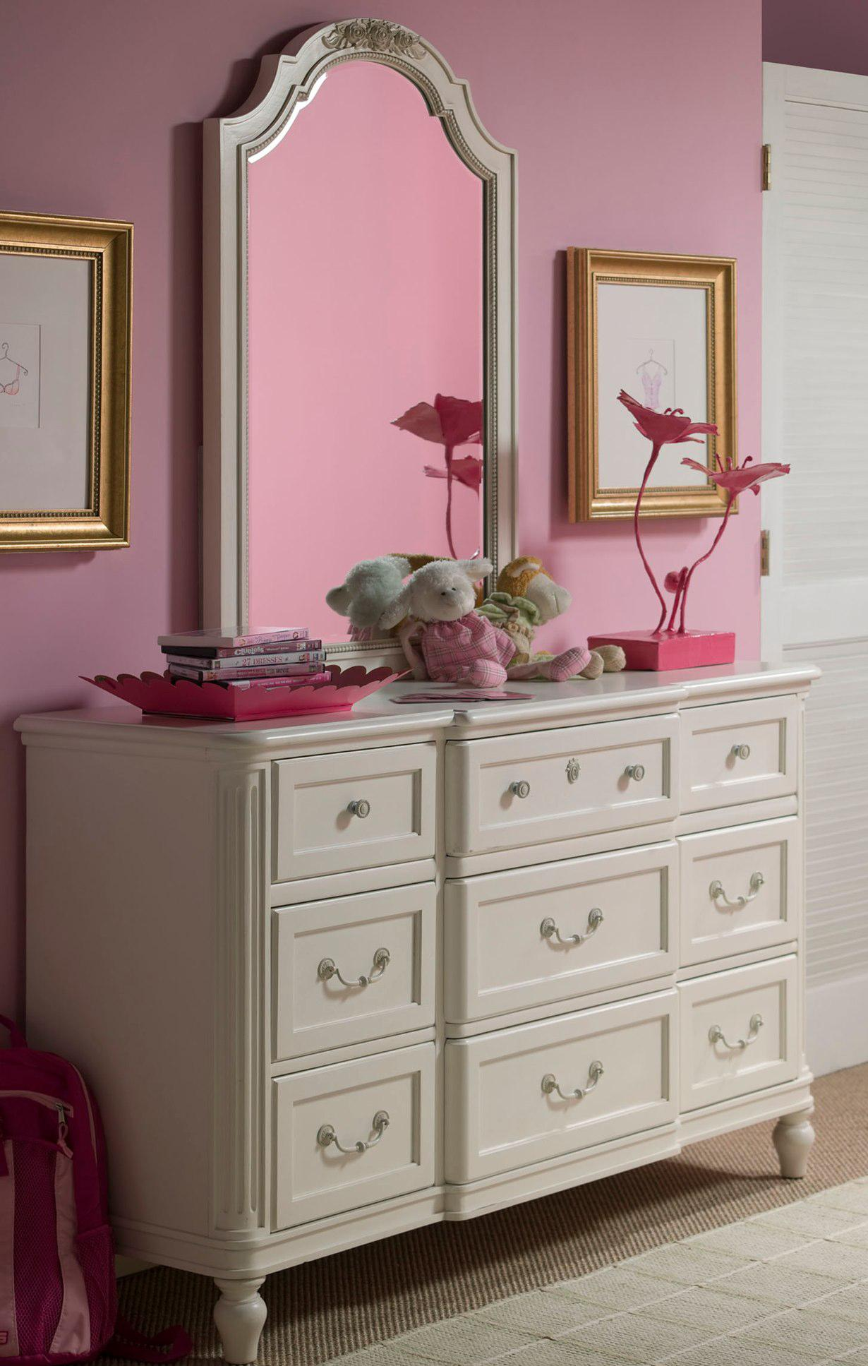 Smartstuff Gabriella Drawer Dresser & Vertical Mirror - Item Number: 136A002+030