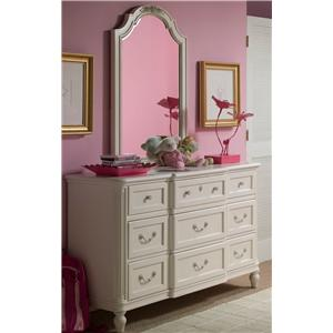 Morris Home Furnishings Greenville Drawer Dresser & Vertical Mirror