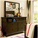 Morris Home Furnishings Pine Valley 7 Drawer Dresser & Vertical Mirror - Shown with Drawers Open
