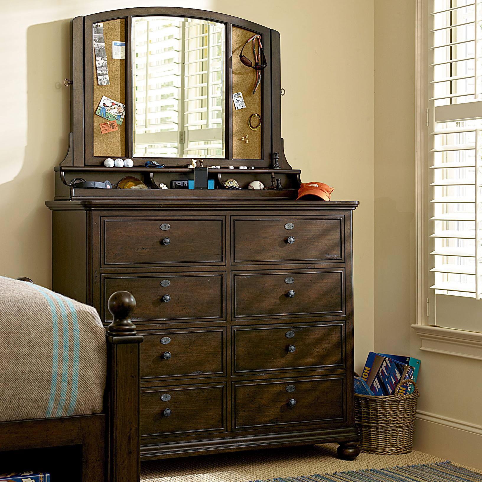 Morris Home Pine Valley Chest & Mirror - Item Number: 2391004+033