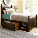 Smartstuff Paula Deen - Guys Twin Guy's Reading Low Post Bed with Underbed Storage Unit - Shown with One Large Drawer Pulled Out