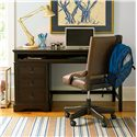 Morris Home Furnishings Pine Valley Henry's Leather Desk Chair with Caster Legs - Shown with Henry\'s Desk