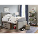 Smartstuff Scrimmage Full Panel Bed with Storage Unit and Bronze Accent on Headboard