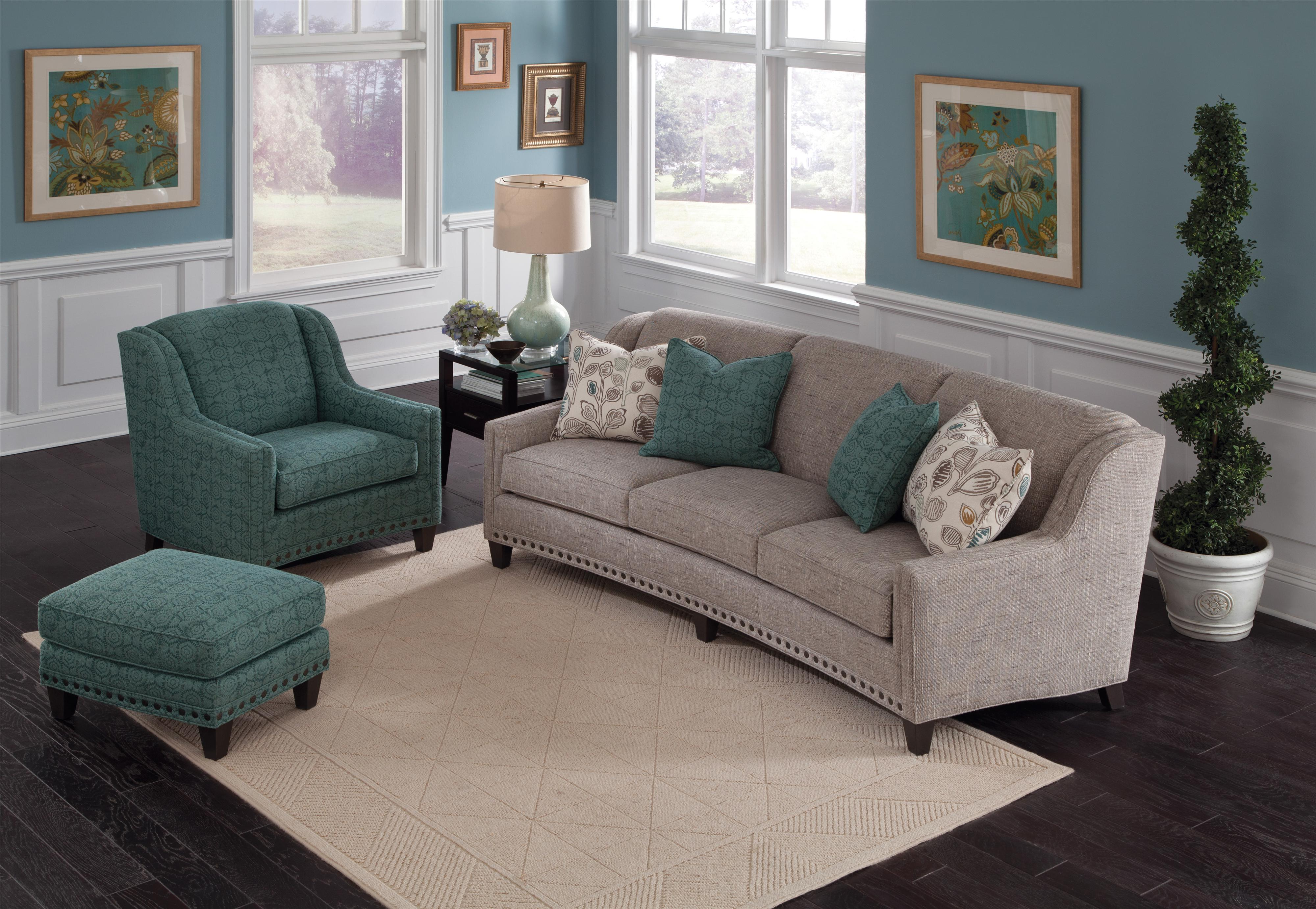 Smith Brothers 227 227 10 Slightly Curved Sofa With