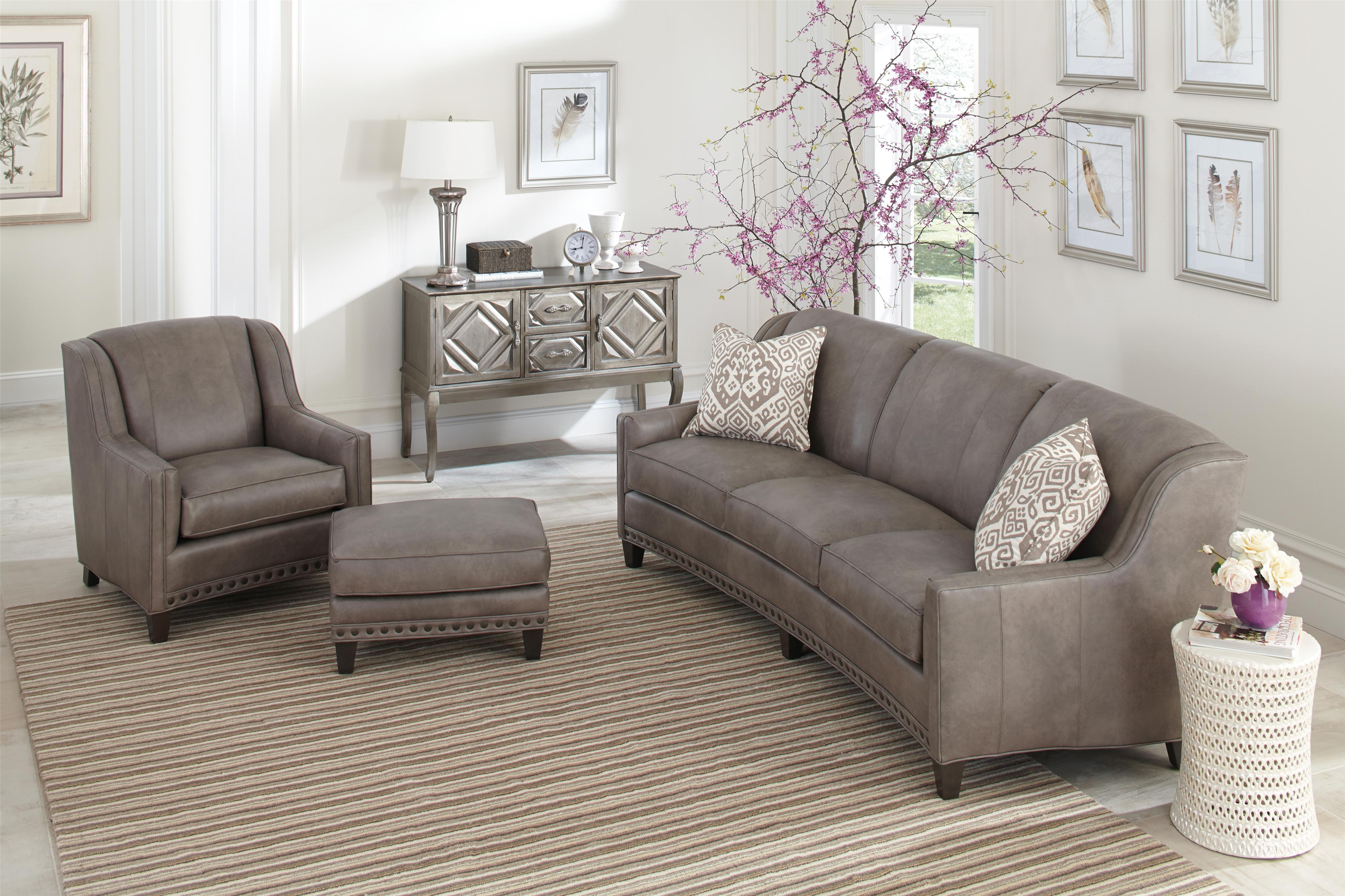 227 Slightly Curved Sofa with Sloping Track Arms and Nail ...