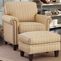 Smith Brothers 234 Traditional Ottoman with Tapered Legs