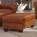 Smith Brothers 235 Traditional Stlye Chair Ottoman with Nailhead Trim - Leather Shown is No Longer Available