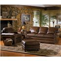 Smith Brothers 309 Casual Upholstered Chair and Ottoman Set with Rolled Arms - Shown with Coordinating Collection Sofa