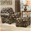 Smith Brothers 310 Rectangular Ottoman with Wood Legs - Shown with Upholstered Chair