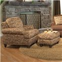 Smith Brothers 324 Upholstered Rectangular Ottoman with Nailhead Trim - Shown with Upholstered Arm Chair