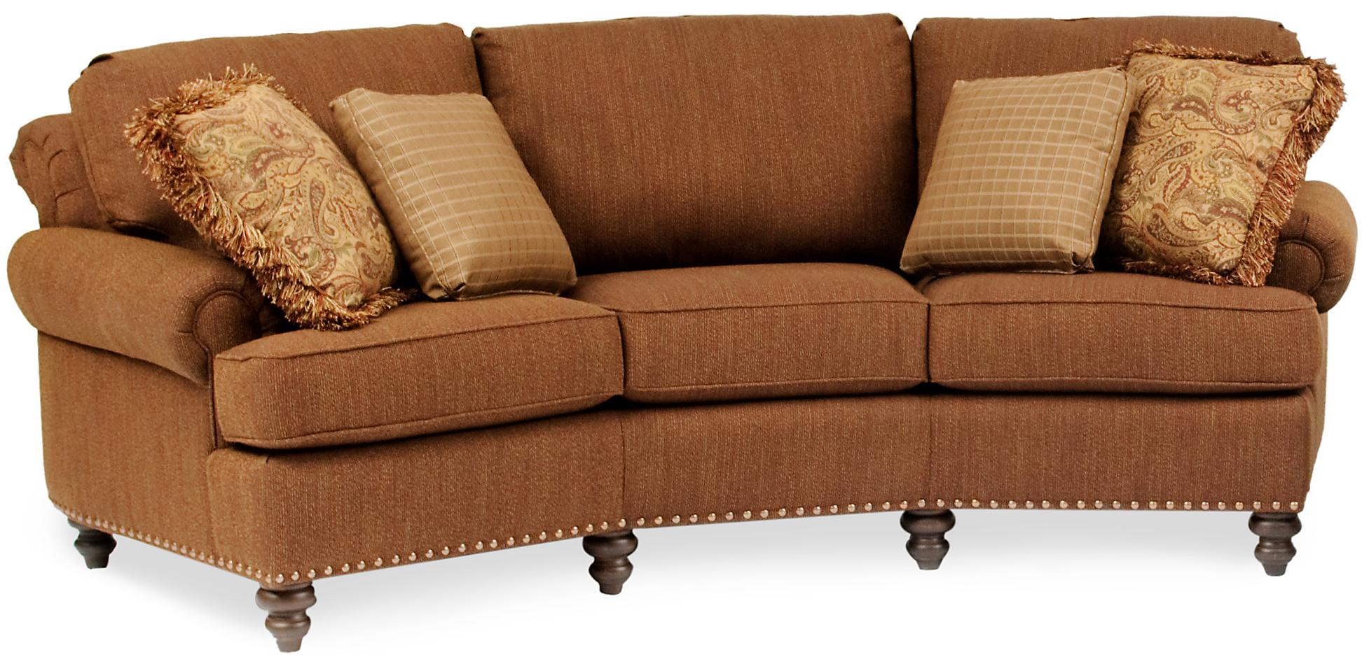 Curved Conversational Sofa With Nailhead Trim