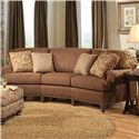 Smith Brothers 324 Curved Conversational Sofa with Nailhead Trim - Shown in Room Setting with Accent Pillows