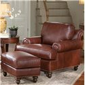 Smith Brothers 324 Upholstered Rectangular Ottoman with Nailhead Trim - Shown with Leather Arm Chair
