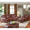 Smith Brothers 324 Leather Conversational Sofa with Nailhead Trim - Shown with Leather Arm Chair & Ottomans