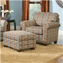 Smith Brothers 366 Casual Stationary Chair with Rolled Arms - Shown with Ottoman