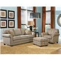 Smith Brothers 366 Casual Stationary Chair with Rolled Arms - Shown with Sofa and Ottoman