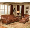 Smith Brothers 383 Customizable Upholstered Ottoman - Shown with Coordinating Chair and Sofa