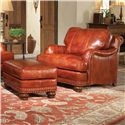 Smith Brothers 386 Traditional Ottoman with Nailhead Trim - Shown with Chair