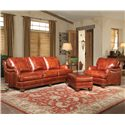 Smith Brothers 386 Traditional Ottoman with Nailhead Trim - Shown with Sofa and Chair